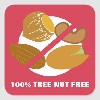 100% Tree Nut Free Food Allergy Alert Stickers