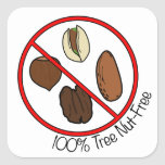 100% Tree Nut Free Square Sticker