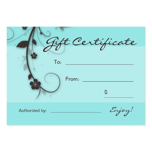 /100 Turquoise blue brown Floral Swirls Gift Card Business Card