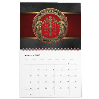 [100] Two Gold Ninurtas with Tree of Life Calendar