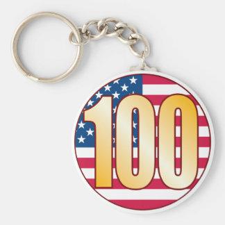 100 USA Gold Basic Round Button Keychain