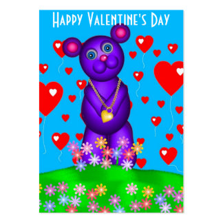 100 Valentine's Day Teddy  Cards Business Card Template