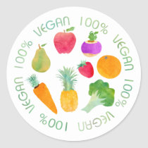 100% Vegan Fruit and Vegetable Watercolor Classic Round Sticker