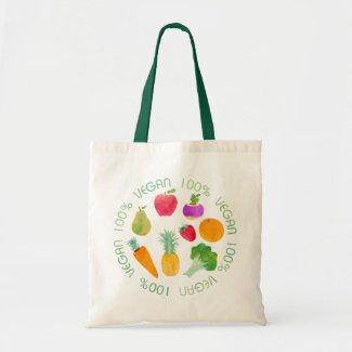 100% Vegan Fruit and Vegetable Watercolor Veggie Tote Bag