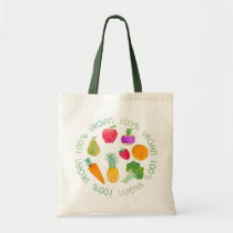 100% Vegan Fruit and Vegetable Watercolor Veggie Tote Bag