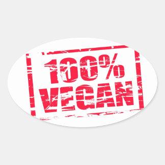 100% vegan oval sticker