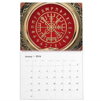 [100] Vegvisir - Viking Gold Magic Runic Compass Calendar