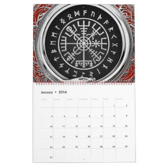[100] Vegvisir - Viking Silver Magic Runic Compass Calendar