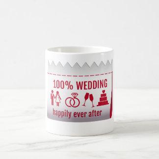 100 % wedding, happily ever after, fabric tag text coffee mug