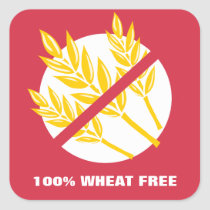 100% Wheat Free Food Allergy Celiac Alert Stickers