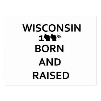 100% Wisconsin Born and Raised Postcard