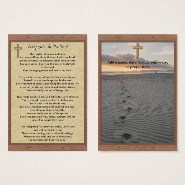 Footprints In The Sand Prayer Cards
