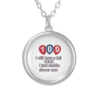 100 year funny birthday designs round pendant necklace