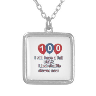 100 year funny birthday designs square pendant necklace