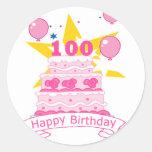 100 Year Old Birthday Cake Classic Round Sticker