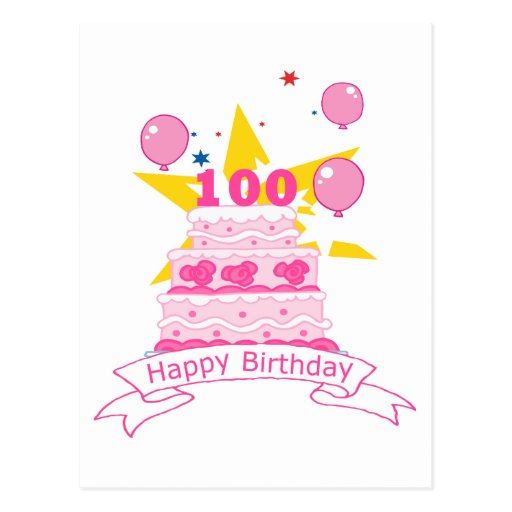 100 Year Old Birthday Cake Postcards