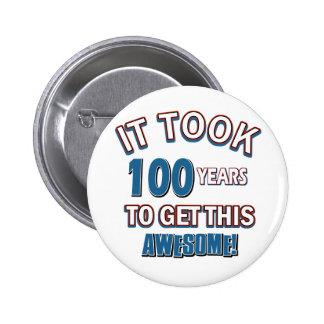 100 year old birthday designs 2 inch round button