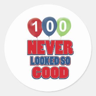 100 year old birthday designs classic round sticker