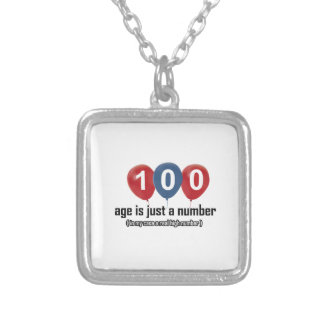100 year old nothing but a number designs square pendant necklace