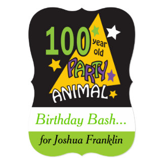 100 Year Old Party Animal Theme Birthday Card