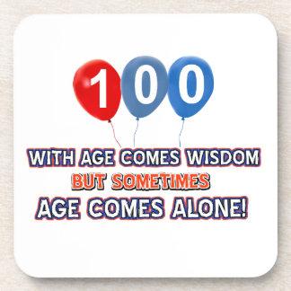 100 year old wisdom birthday designs drink coasters