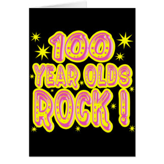 100 Year Olds Rock! (Pink) Greeting Card