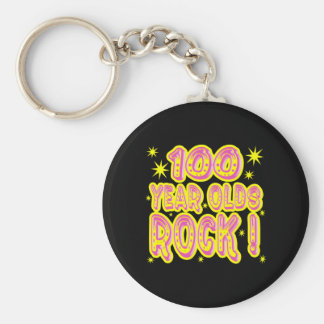 100 Year Olds Rock! (Pink) Keychain