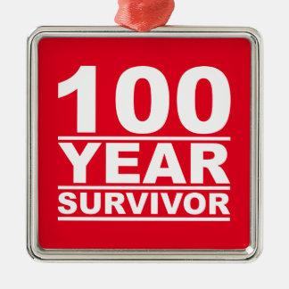 100 year survivor metal ornament