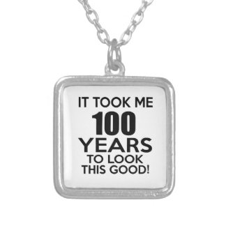 100 years birthday designs square pendant necklace