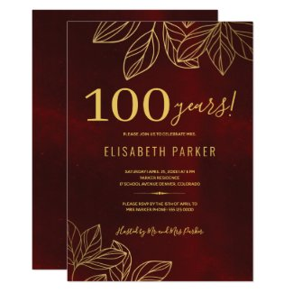 100 years classy elegant 100th birthday party invitation