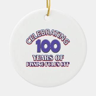 100 years of raising hell round ceramic ornament