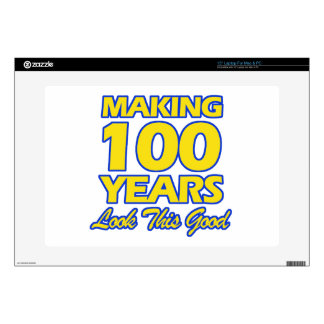 """100 YEARS OLD BIRTHDAY DESIGNS 15"""" LAPTOP DECAL"""