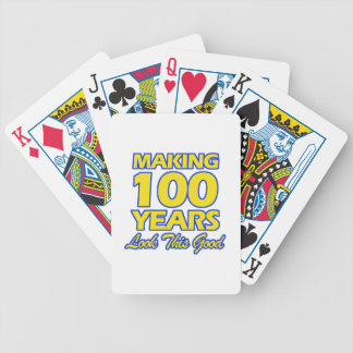 100 YEARS OLD BIRTHDAY DESIGNS BICYCLE PLAYING CARDS