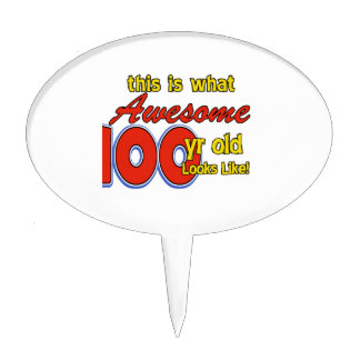 100 YEARS OLD BIRTHDAY DESIGNS CAKE TOPPER