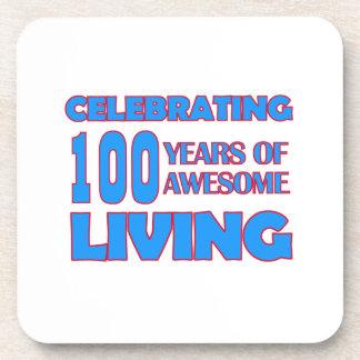 100 years old birthday designs beverage coaster