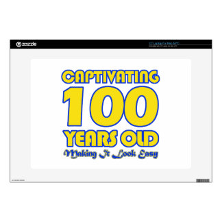 """100 YEARS OLD BIRTHDAY DESIGNS DECALS FOR 15"""" LAPTOPS"""
