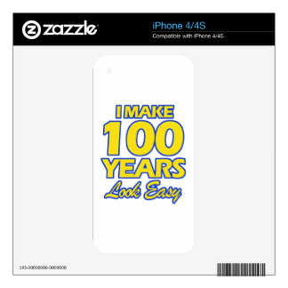 100 YEARS OLD BIRTHDAY DESIGNS DECALS FOR THE iPhone 4S