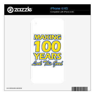 100 YEARS OLD BIRTHDAY DESIGNS iPhone 4 DECALS
