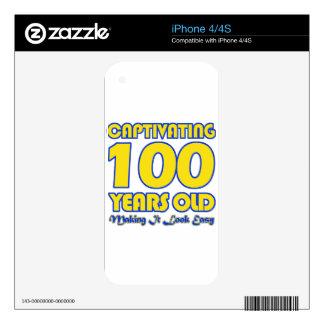 100 YEARS OLD BIRTHDAY DESIGNS iPhone 4S SKINS
