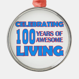 100 years old birthday designs metal ornament