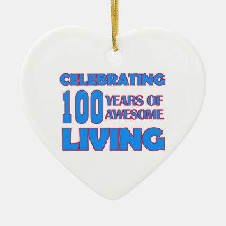 100 years old birthday designs ceramic heart ornament
