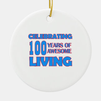 100 years old birthday designs Double-Sided ceramic round christmas ornament