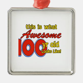 100 YEARS OLD BIRTHDAY DESIGNS SQUARE METAL CHRISTMAS ORNAMENT