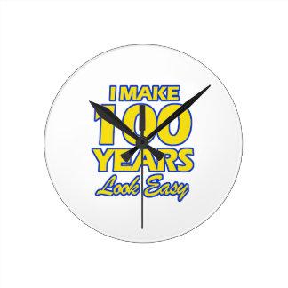 100 YEARS OLD BIRTHDAY DESIGNS ROUND CLOCK