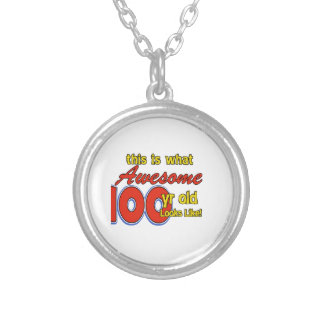 100 YEARS OLD BIRTHDAY DESIGNS ROUND PENDANT NECKLACE