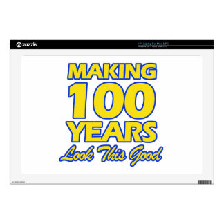 """100 YEARS OLD BIRTHDAY DESIGNS DECALS FOR 17"""" LAPTOPS"""