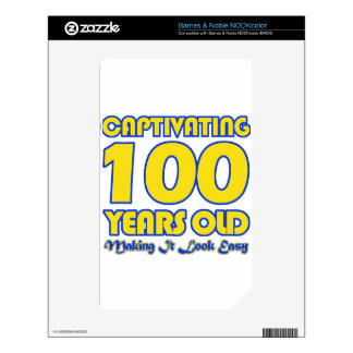 100 YEARS OLD BIRTHDAY DESIGNS DECALS FOR NOOK COLOR