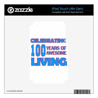 100 years old birthday designs iPod touch 4G decal