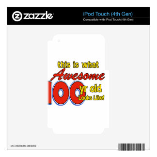 100 YEARS OLD BIRTHDAY DESIGNS iPod TOUCH 4G DECALS