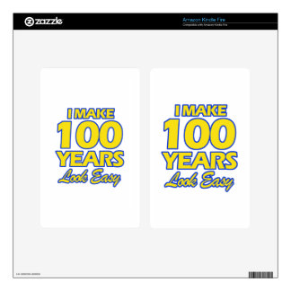 100 YEARS OLD BIRTHDAY DESIGNS DECALS FOR KINDLE FIRE